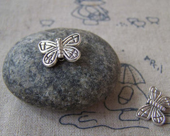Accessories - 30 Pcs Antique Silver Pewter Butterfly Beads 11x15mm A5329