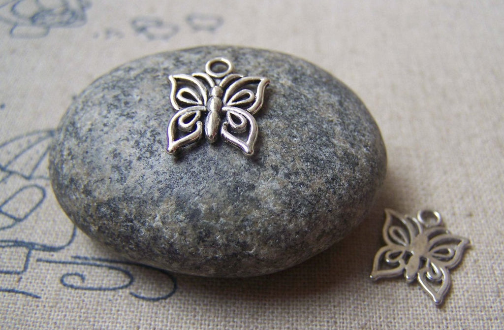 Accessories - 30 Pcs Butterfly Charms Antique Silver Filigree Pendants 12mm A4776