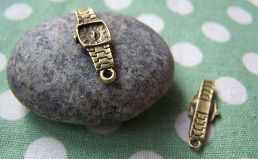 Accessories - 30 Pcs Of Antique Bronze Lovely Wrist Watch Charms 8x23mm A497