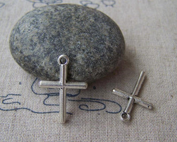 Accessories - 30 Pcs Of Tibetan Silver Antique Silver Cross Charms 16x23mm A2965