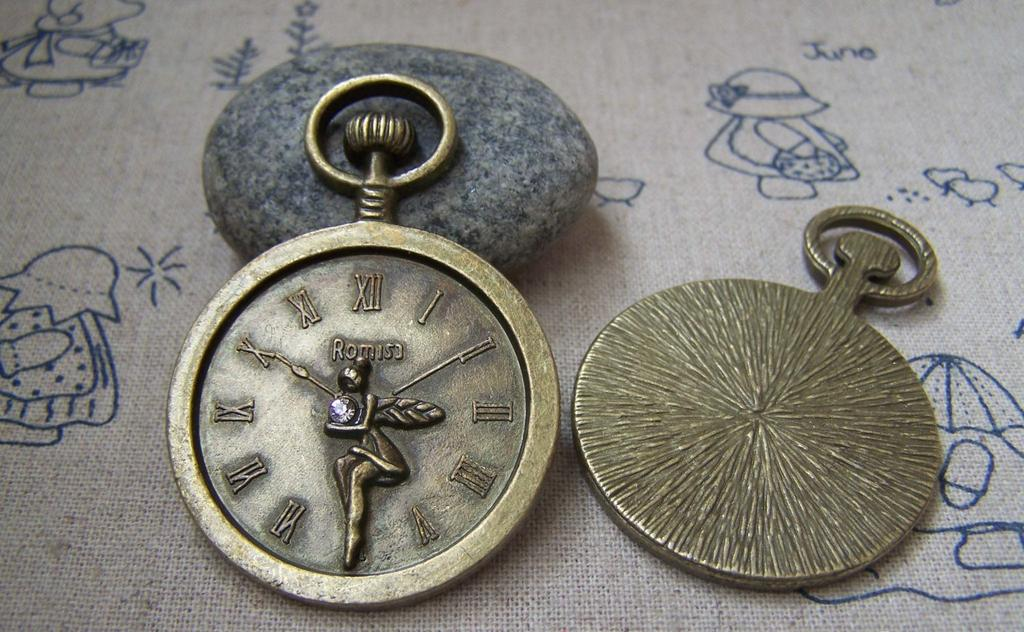 Accessories - 4 Pcs Antique Bronze Rhinestone Fairy Round Pocket Watch Clock Pendants 37x54mm  A2171