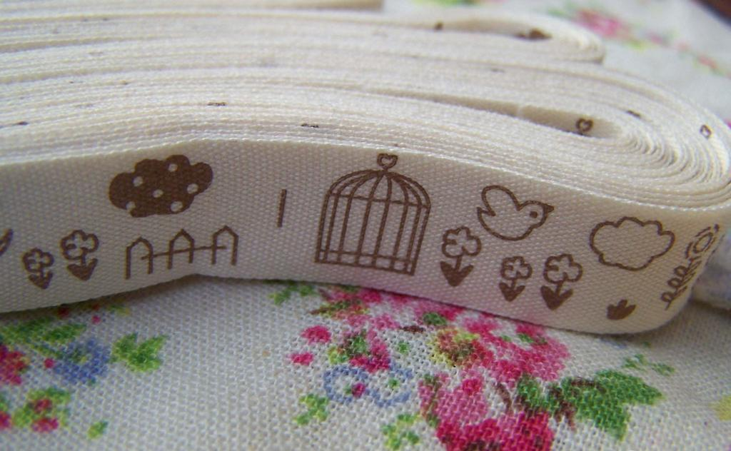 Accessories - 5.46 Yards (5 Meter) Bird Cage Pattern Cotton Ribbon Label String A2546