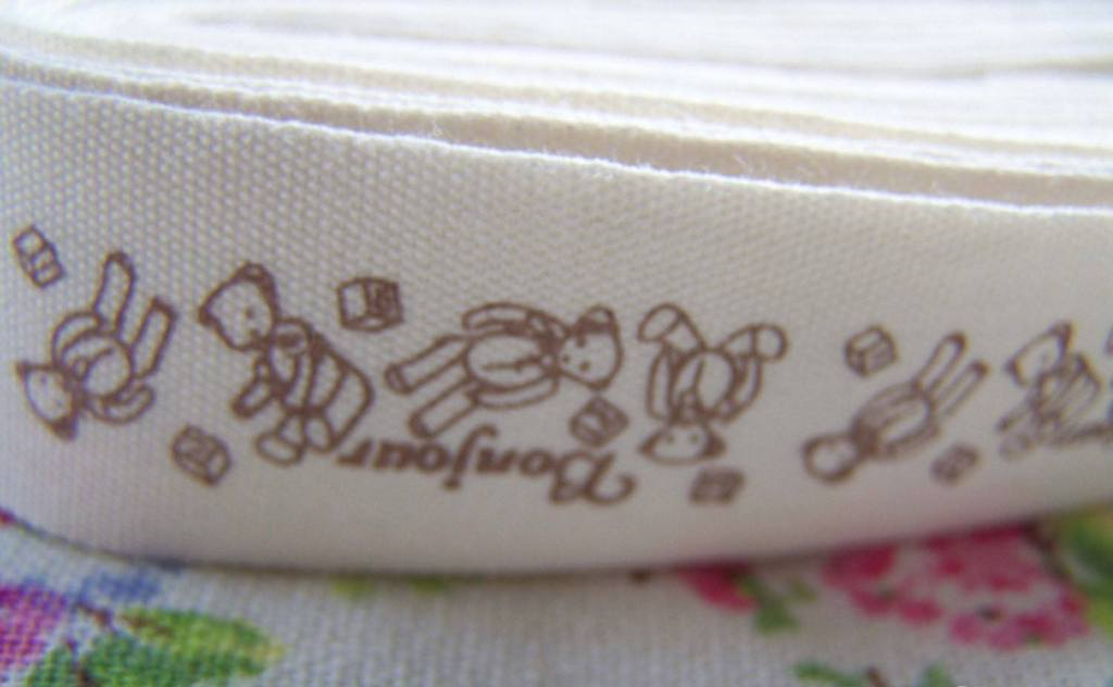 Accessories - 5.46 Yards (5 Meters) Bear Print Cotton Ribbon Label String A2672