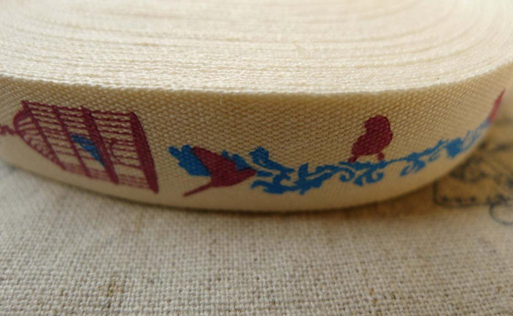 Accessories - 5.46 Yards (5 Meters) Handmade Blue Bird Cage Pattern Print Cotton Ribbon Label String A5530