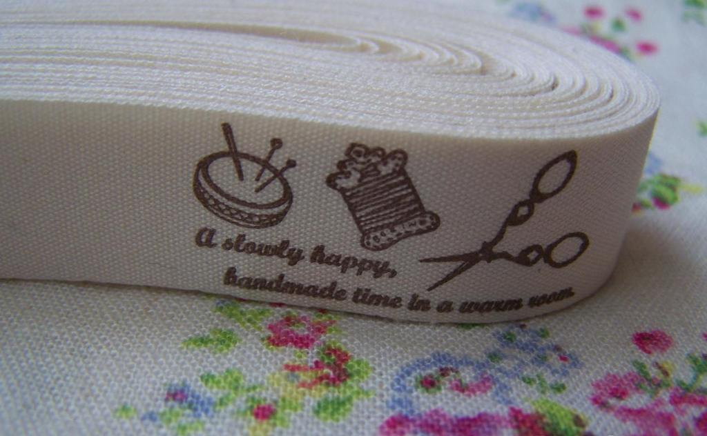Accessories - 5.46 Yards (5 Meters) Knitting Sewing Handicrafts Print Cotton Ribbon Label String A2542