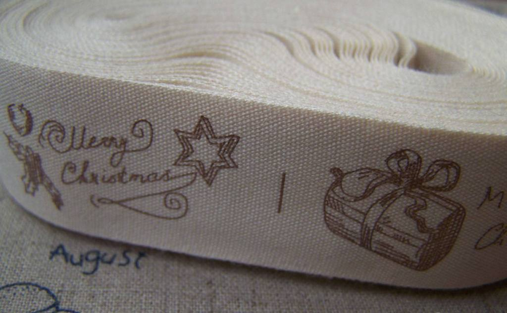Accessories - 5.46 Yards (5 Meters) Merry Christmas Gift Print Cotton Ribbon Label String A2653