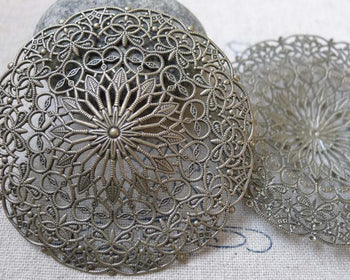 Accessories - 5 Pcs Antique Brone Brass Filigree Flower Hat Embellishments 55mm A6323