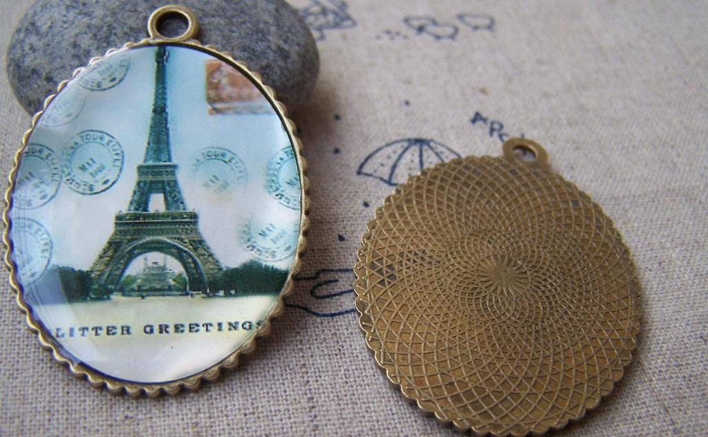 Accessories - 5 Pcs Of Antique Bronze Enamel Eiffel Tower Oval Pendants 35x45mm A1755