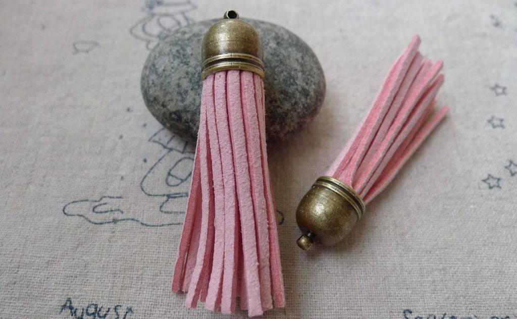 Accessories - 5 Pcs Of Square Faux Suede Pink Leather Tassel With Brass Bead Caps A6664