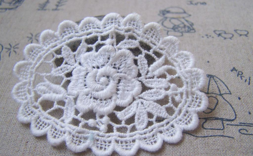 Accessories - 5 Pcs White Filigree Floral Oval Cotton Lace Doily 50x68mm A4839