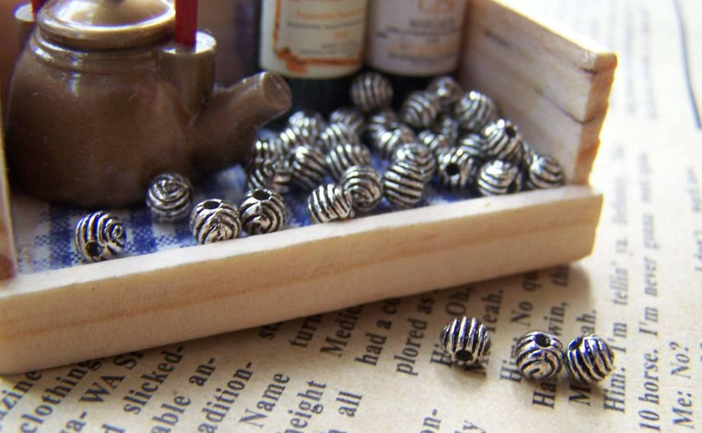 Accessories - 50 Pcs Antique Silver Coiled Textured Round Beads 4mm  A1394