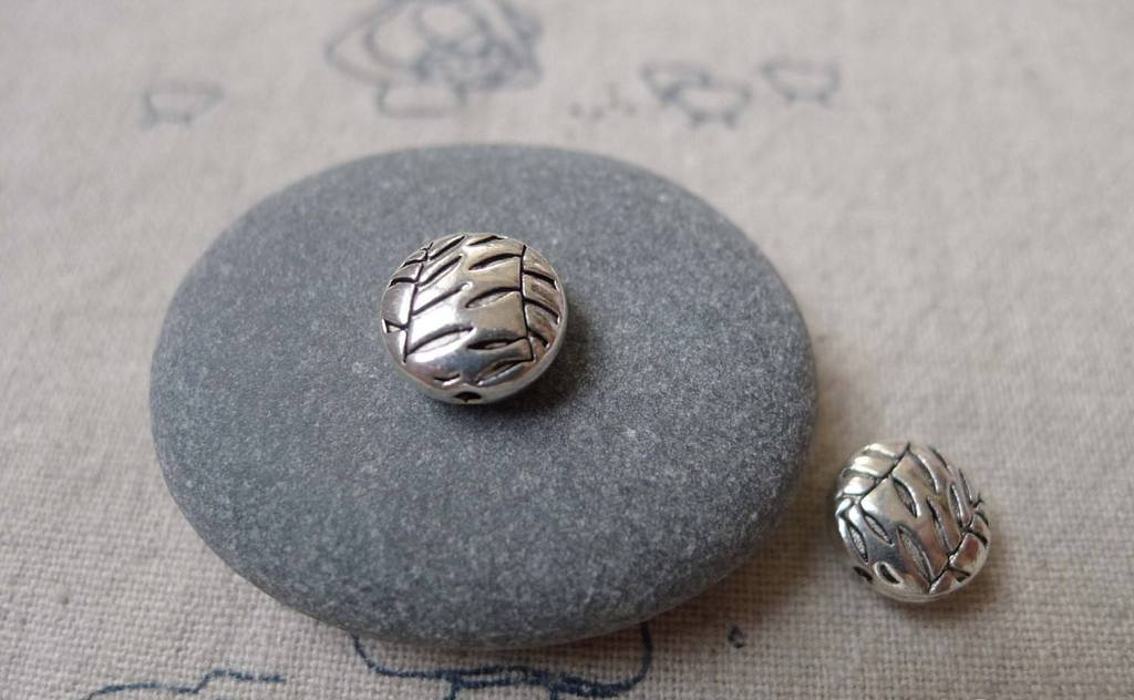 Accessories - 50 Pcs Antique Silver Rondelle Textured Willow Branch Beads  10mm A7262