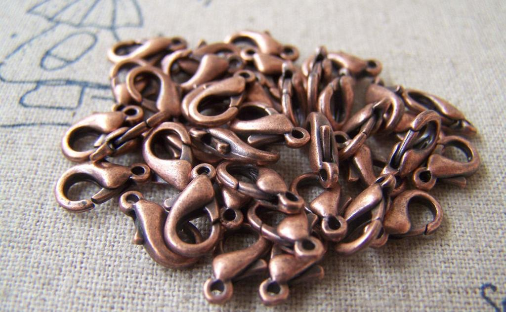 Accessories - 50 Pcs Antiqued Copper Brass Lobster Clasp 10mm A4132