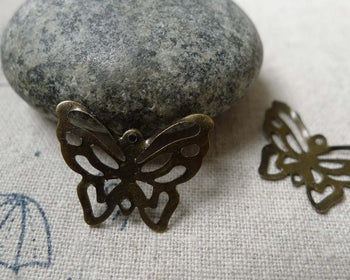 Accessories - 50 Pcs Of Antique Bronze Filigree Butterfly Embellishments Stampings  17x21mm A6004