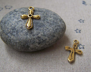 Accessories - 50 Pcs Of Antique Gold Flat Back Cross Charms 12x15mm A2227