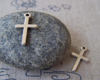 Accessories - 50 Pcs Of Antique Silver Flat Back Cross Charms 9x19mm A902