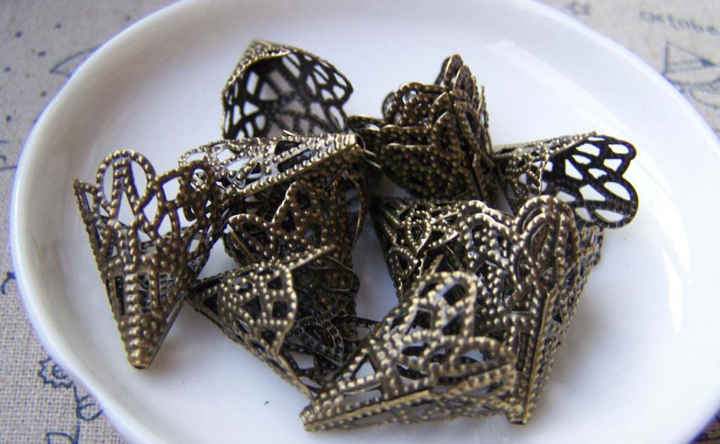 Accessories - 50 Pcs Of Antiqued Bronze Filigree Cone Bead Caps 17x20mm A2045