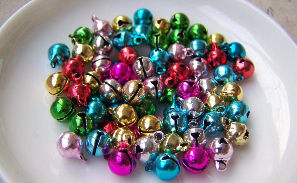 Accessories - 50 Pcs Of Metal Painted Bell Charms Mixed Color 6mm A3856