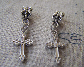 Accessories - 50 Pcs Of Silver Tone Cross Charms  11x21mm A2354