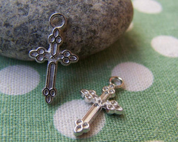 Accessories - 50 Pcs Of Silver Tone Cross Charms  11x21mm A2440