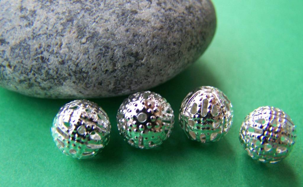 Accessories - 50 Pcs Of Silver Tone Filigree Ball Spacer Beads Size 8mm A1974