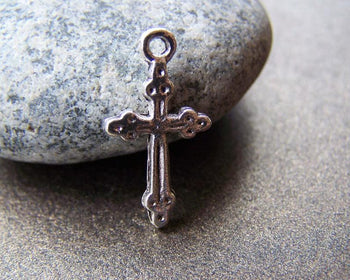 Accessories - 50 Pcs Of Tibetan Silver Antique Silver Cross Charms  11x21mm A872