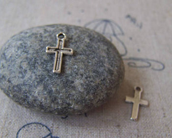Accessories - 50 Pcs Of Tibetan Silver Antique Silver Cross Charms  7x11mm A4311