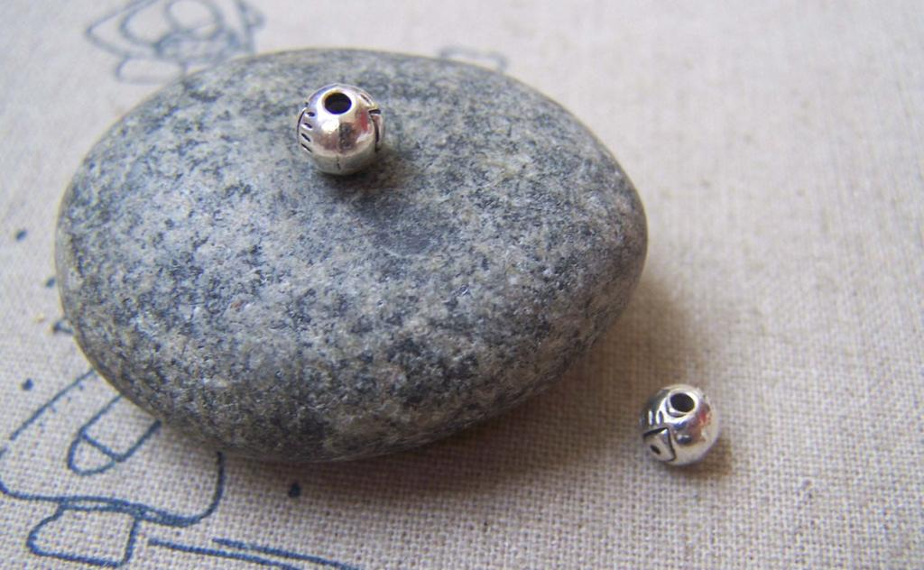 Accessories - 50 Pcs Of Tibetan Silver Antique Silver Round Eye Ball Beads 6mm A4894