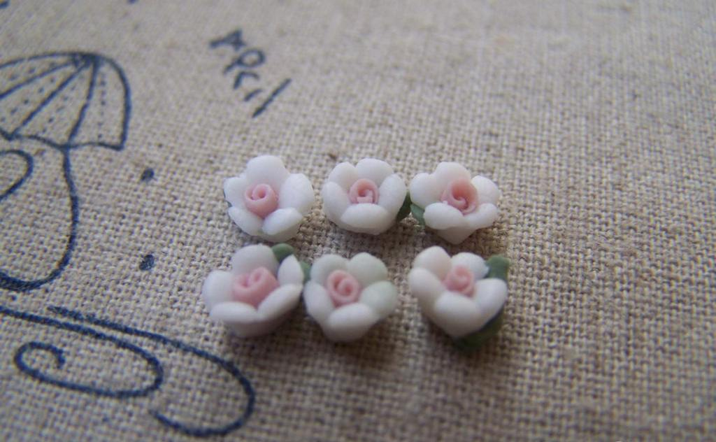 Accessories - 50 Pcs Of White Ceramic Flower Cabochon 6mm A2162