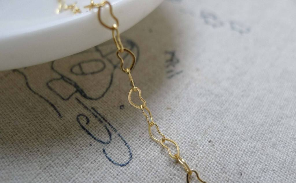 Accessories - 6.6 Ft (2m) Of  Anti Tarnish 16K Gold Color Brass Heart Link Chain Soldered Links 3x4.3mm A5860