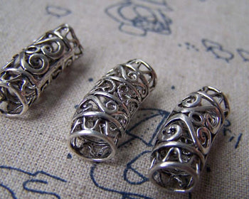 Accessories - 6 Pcs Antique Silver Brass Curved Flower Slide Tube  10x25mm A2788