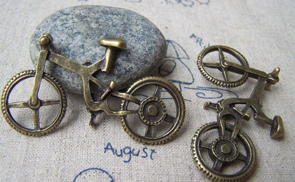 Accessories - 6 Pcs Of Antique Bronze Bike Bicycle Pendants Charms 30x52mm A926