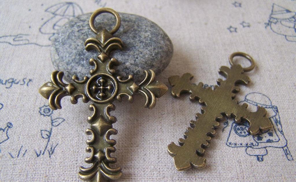 Accessories - 6 Pcs Of Antique Bronze Cross Pendants Charms 40x61mm A4255