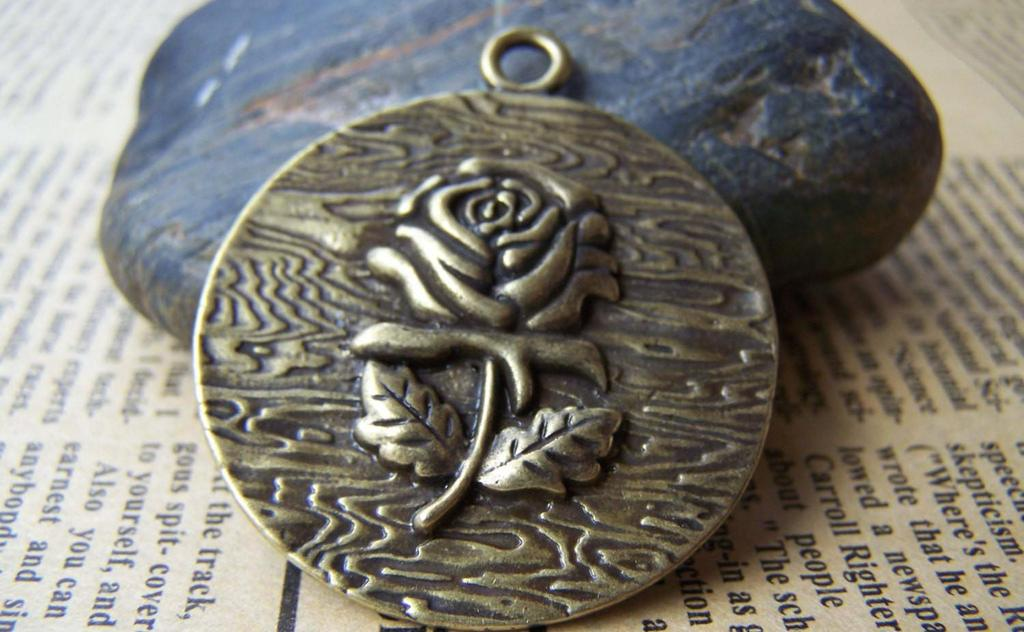 Accessories - 6 Pcs Of Antique Bronze Embossed Rose Flower Round Pendants Huge Size 38mm A1636