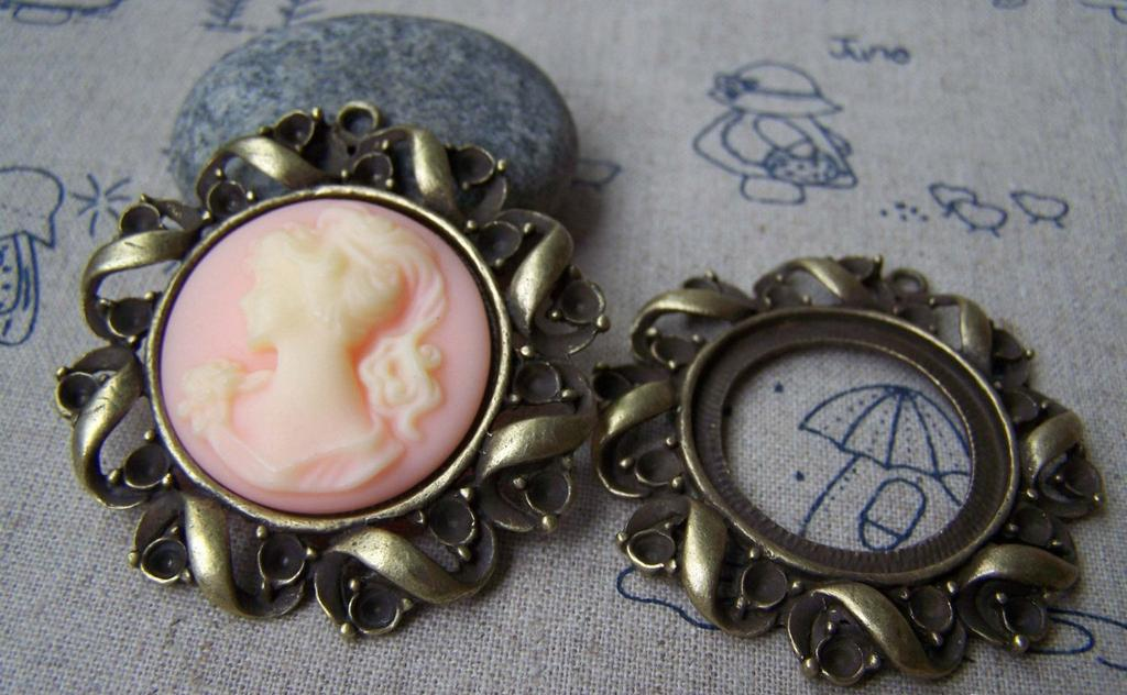 Accessories - 6 Pcs Of Antique Bronze Filigree Twisted Round Cameo Base Settings Match 30mm Cab A1236