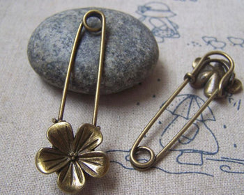 Accessories - 6 Pcs Of Antique Bronze Flower Safety Pins Broochs 11x50mm A4873