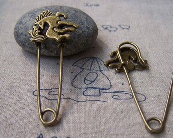 Accessories - 6 Pcs Of Antique Bronze Horse Pony Safety Pins Broochs 22x53mm A2963