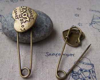 Accessories - 6 Pcs Of Antique Bronze Love Heart Safety Pin Brooch Findings 19x50mm A2952