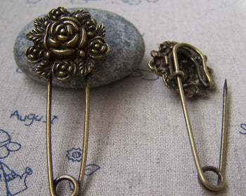Accessories - 6 Pcs Of Antique Bronze Lovely Round Flower Safety Pins Broochs 11x50mm A2881