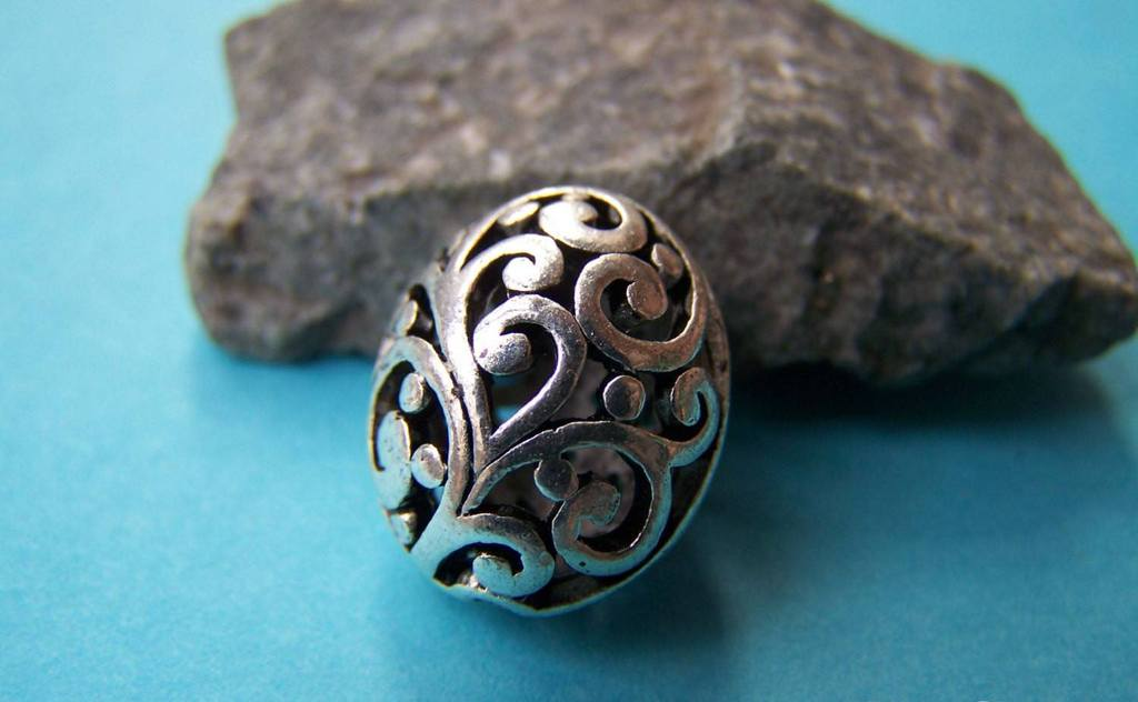 Accessories - 6 Pcs Of Antique Silver 3D Filigree Swirly Oval Beads  14x17mm A1017