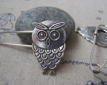 Accessories - 6 Pcs Of Antique Silver Lovely Owl Safety Pins Broochs 11x50mm A2883