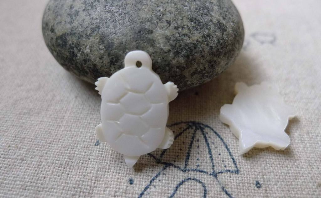 Accessories - 6 Pcs Of Natural Shell Turtle Charms 13x19mm  A6335