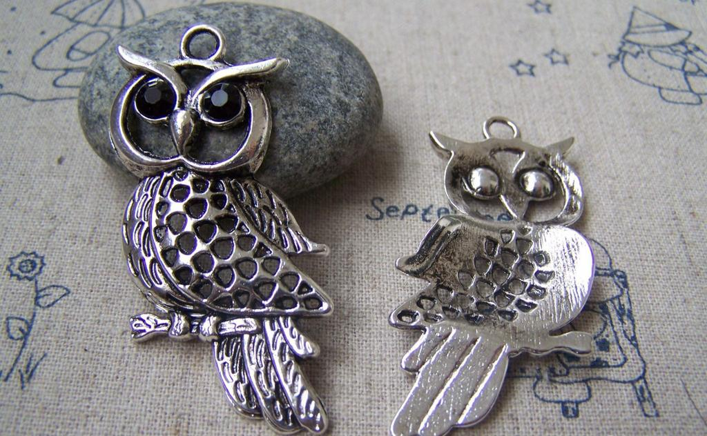 Accessories - 6 Pcs Of Tibetan Silver Antique Silver Rhinestone Owl Pendants 25x50mm A2928