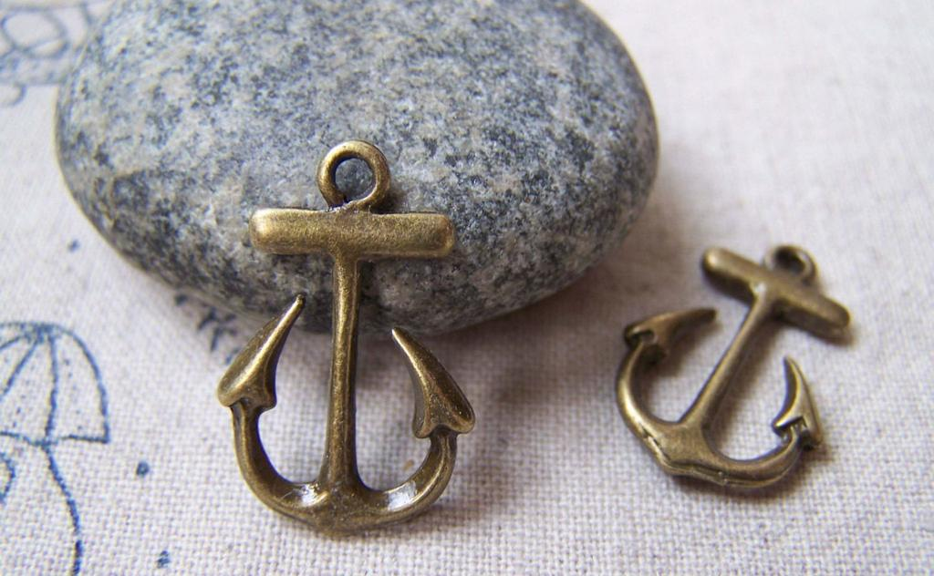 Accessories - Anchor Charms Antique Bronze 15x23mm Set Of 20 Pcs A5765