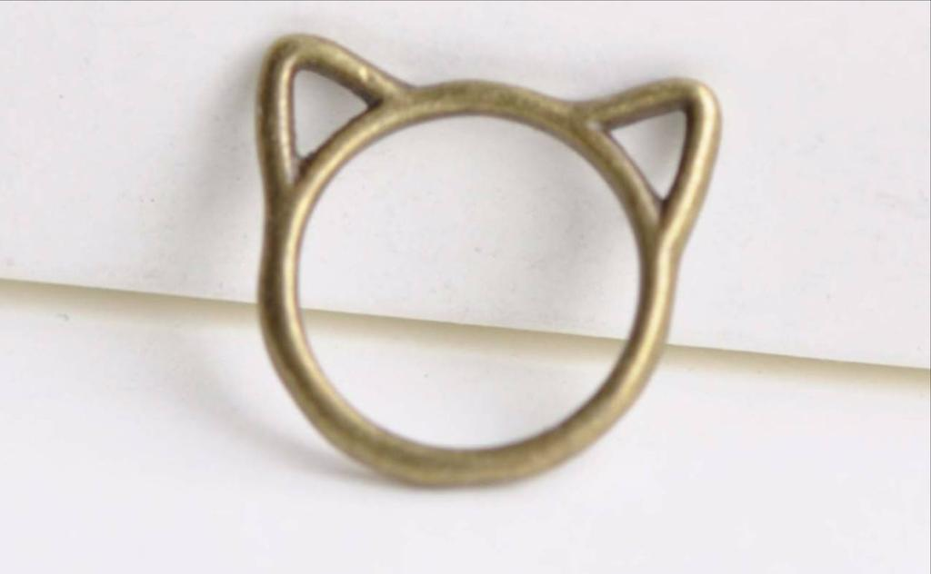Accessories - Antique Bronze Cat Ear Ring Charms Pendants  Set Of 20 A8348