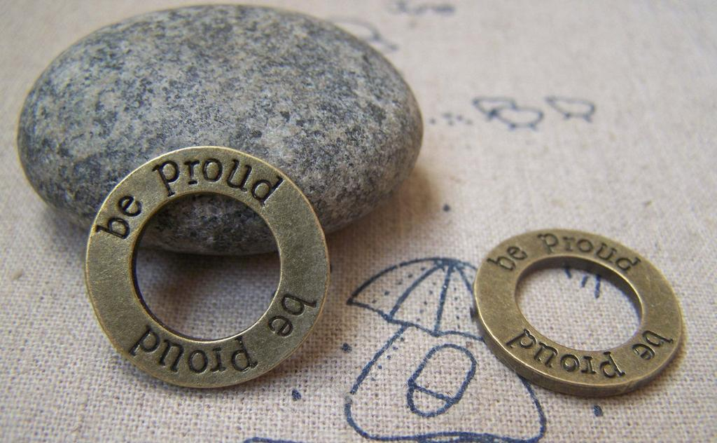 Accessories - Antique Bronze Round Circle Rings Charms 22mm Double Sided Set Of 10 Pcs A3100