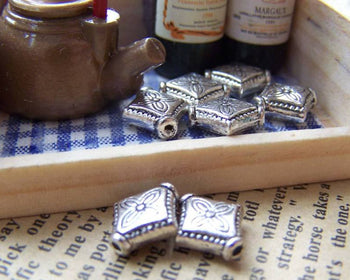 Accessories - Antique Silver Rhombus Beads Rondelle Spacer 10mm Set Of 50 Pcs A1071