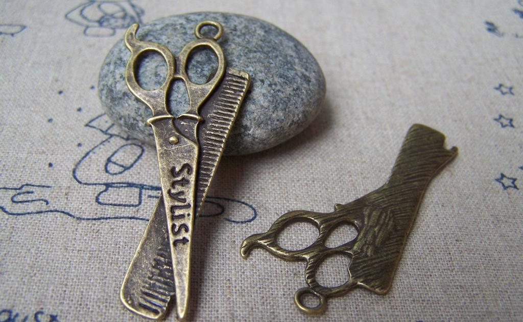 Accessories - Barber Shop Stylist Scissors And Comb Charms Antique Bronze Shears Pendants  21x53mm Set Of 10 Pcs A3947