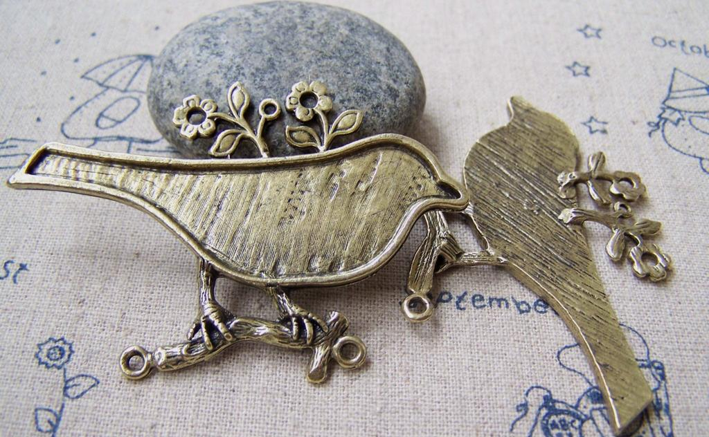 Accessories - Bird Twig Connectors Antique Bronze Large Magpie Cabochon Bezel Pendants 42x62mm Set Of 4 Pcs A2901