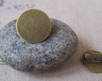 Accessories - Brooch Pin Blanks Antiqued Bronze Round Settings 16mm Pad Set Of 10 Pcs A3591
